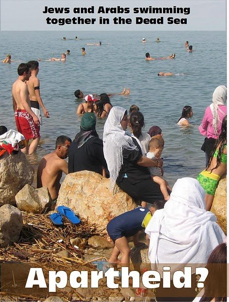 Jews and Arabs swimming together in the Dead Sea