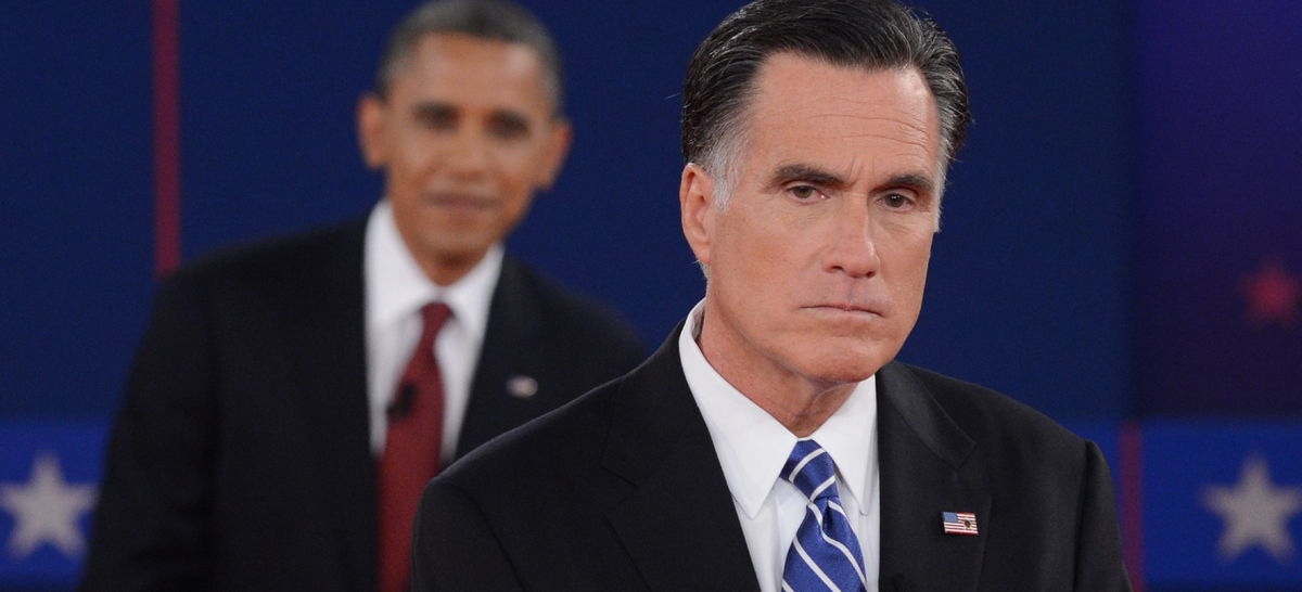 Mitt Romney and Barack Obama - a still photo extracted from the video of the second debate